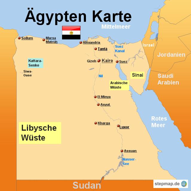 Karte Von ägypten.Stepmap ägypten Karte Landkarte Für ägypten