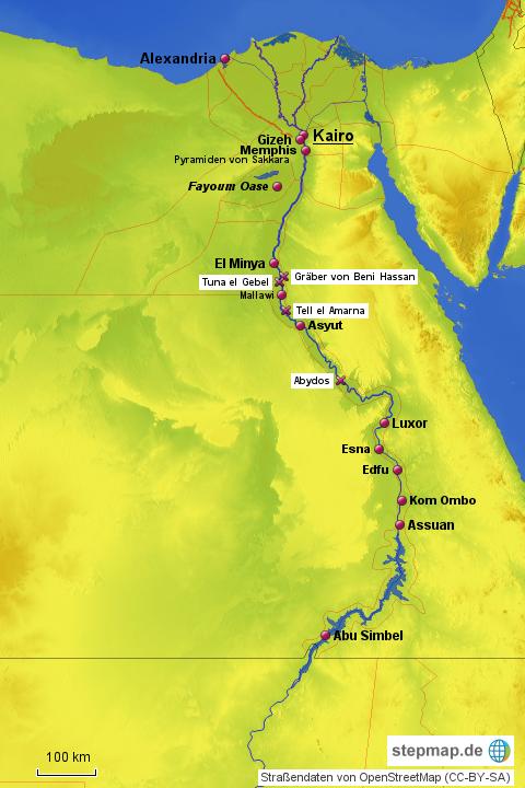Karte ägypten Nil.Stepmap ägypten Nil Landkarte Für ägypten