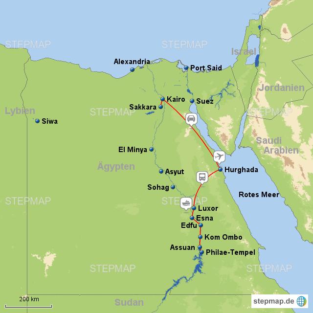 Karte Von ägypten.Stepmap ägypten Nilkreuzfahrt Landkarte Für ägypten