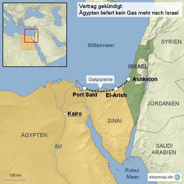 StepMap - Ägypten liefert kein Gas mehr nach Israel