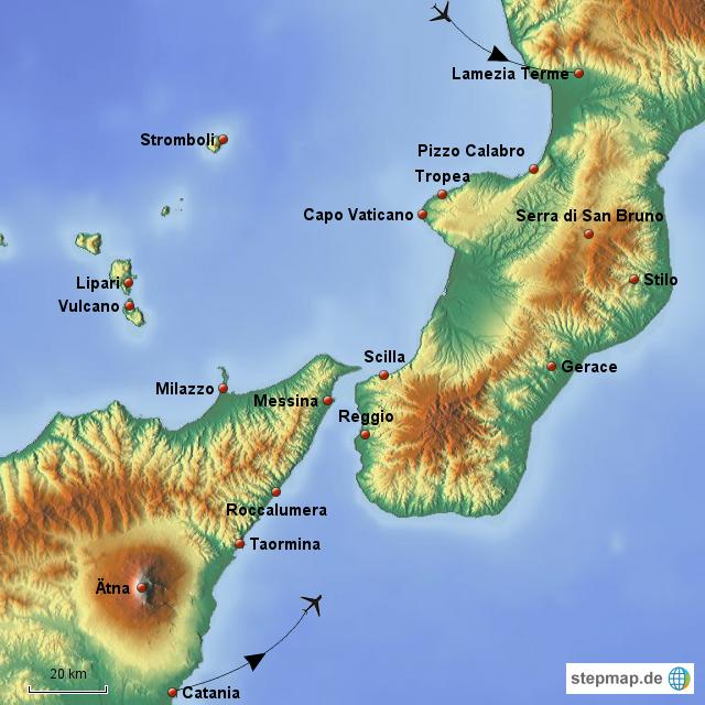 Sizilien Karte ätna.ätna Lipari Kalabrien Von Km Kulturreisen Landkarte Für Sizilien