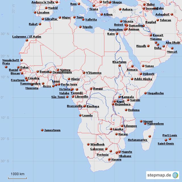 Afrika mit Hauptstu00e4dten von peer-viktor - Landkarte fu00fcr Afrika