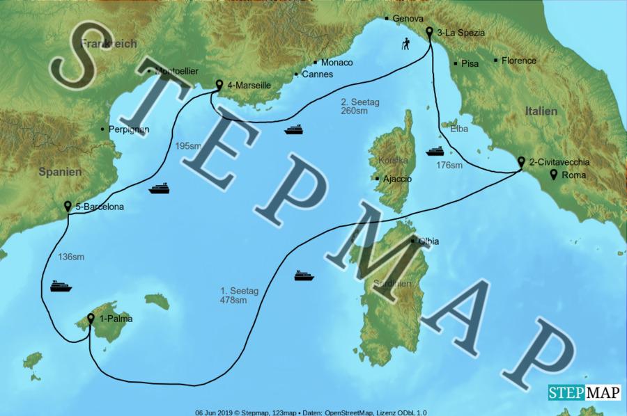 Landkarte: AIDAnova - Mittelmeertour