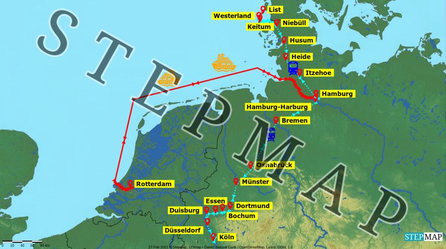 Landkarte: AIDAperla, Waterkant und Sol