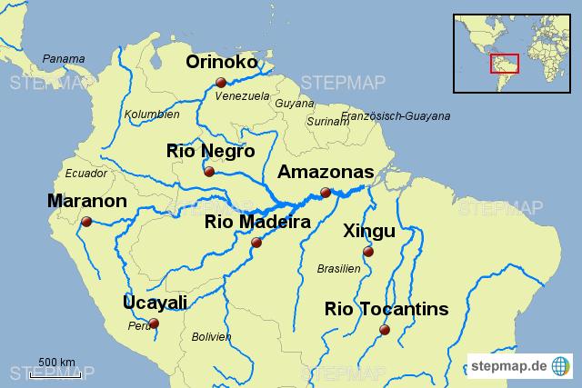 amazonas karte Amazonas Becken von Mondschatten   Landkarte für Südamerika