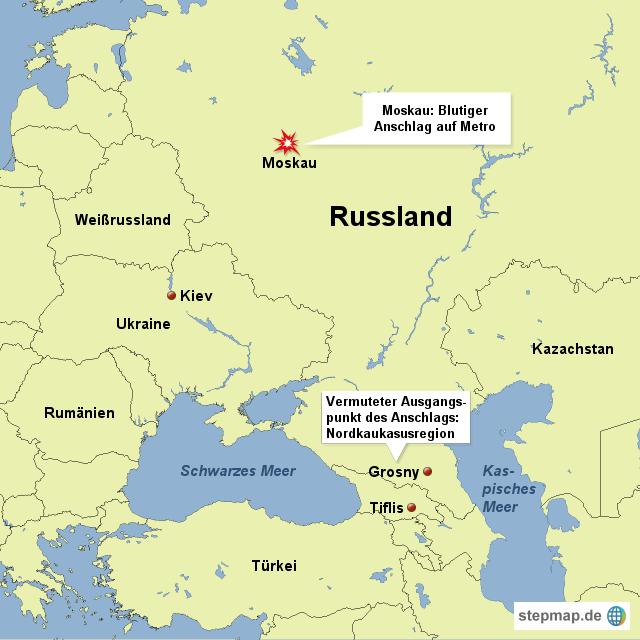 anschlag auf metro in moskau von redaktion landkarte f r russland. Black Bedroom Furniture Sets. Home Design Ideas