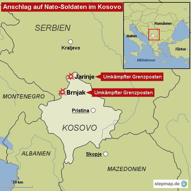 Kosovo Karte Europa.Anschlag Auf Nato Soldaten Im Kosovo Von Bild De Landkarte