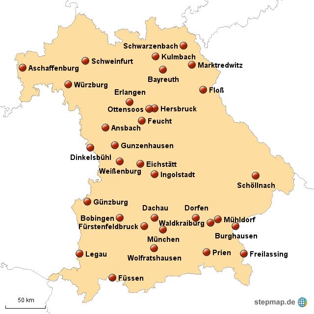 bayern karte städte Städte In Bayern Karte | goudenelftal bayern karte städte