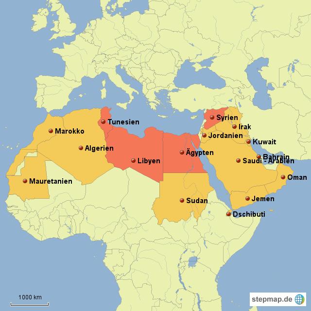 Arabische Welt Von Lauhei Landkarte Fur Sudosteuropa