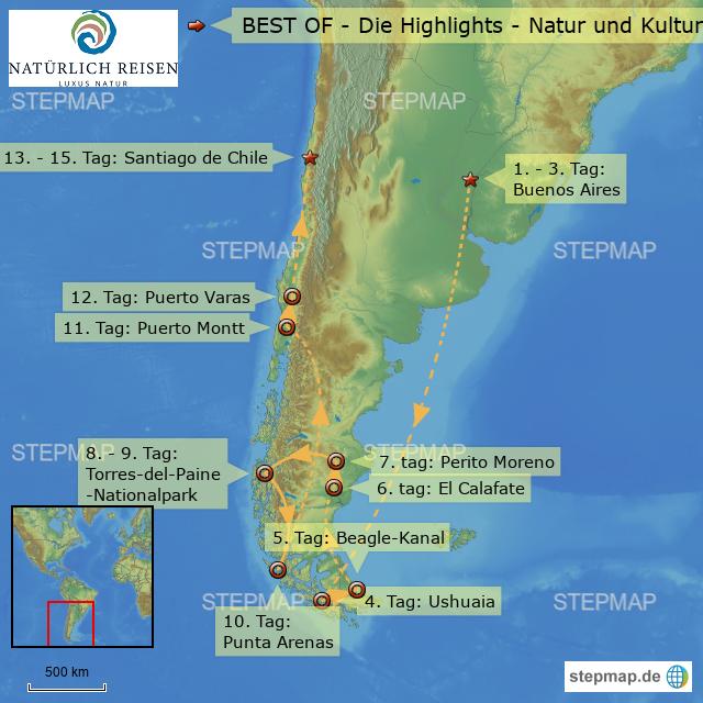 Patagonien Highlights Karte.Argentinien Best Of Die Highlights Natur Und Kultur Von