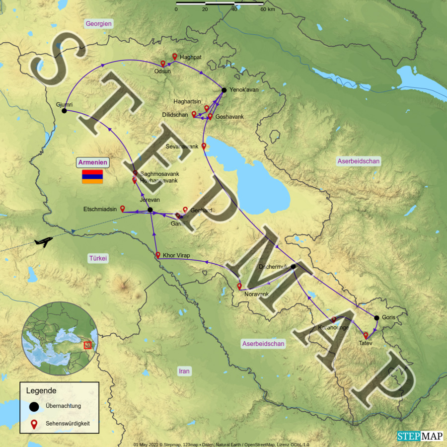 Landkarte: Armenien 2019