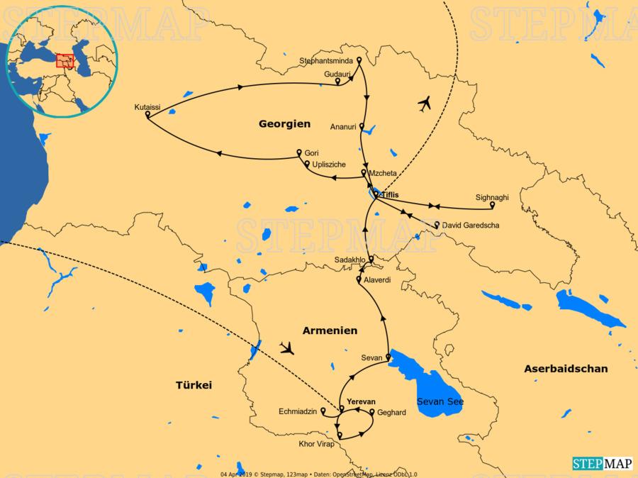 Landkarte: Armenien-Georgien