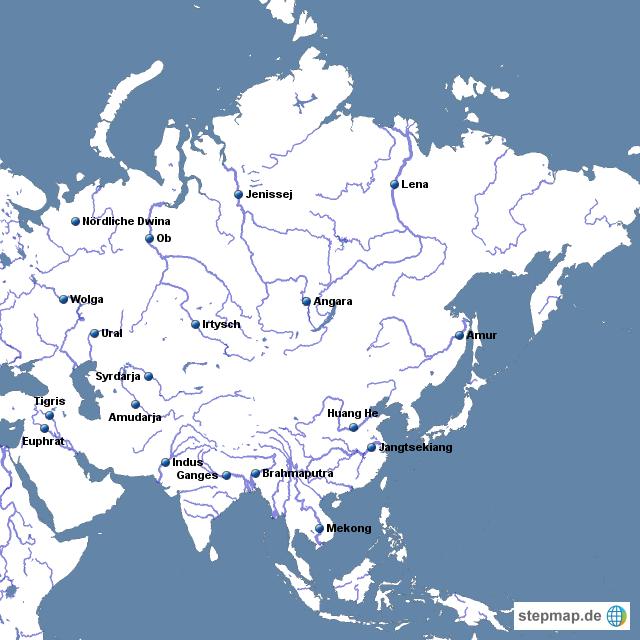 asien flüsse karte