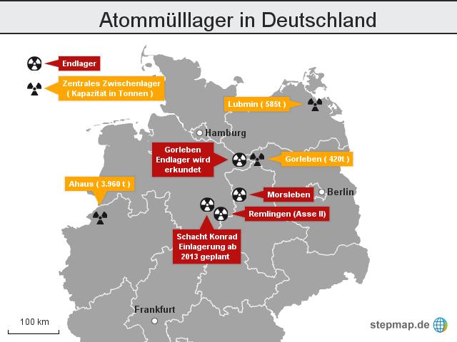 atomm lllager in deutschland von krone landkarte f r deutschland. Black Bedroom Furniture Sets. Home Design Ideas