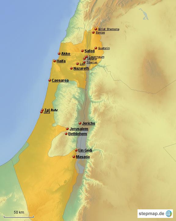 Israel bibel landkarte Westjordanland Karte
