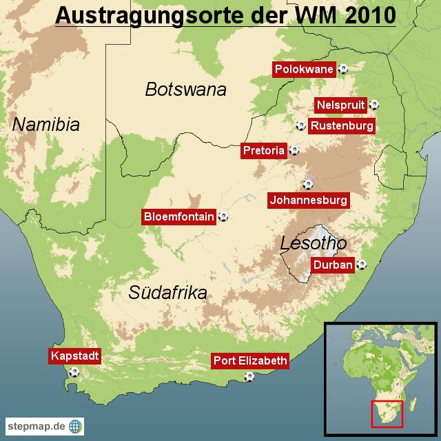 Austragungsorte Der Wm 2010 In Südafrika Von Redaktion Landkarte