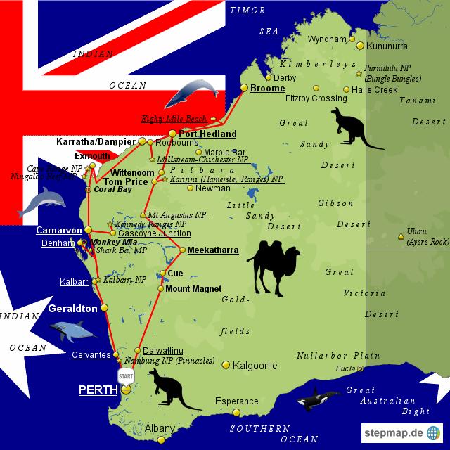 Australien 2009/2 von Jeremy - Landkarte für Western Australia