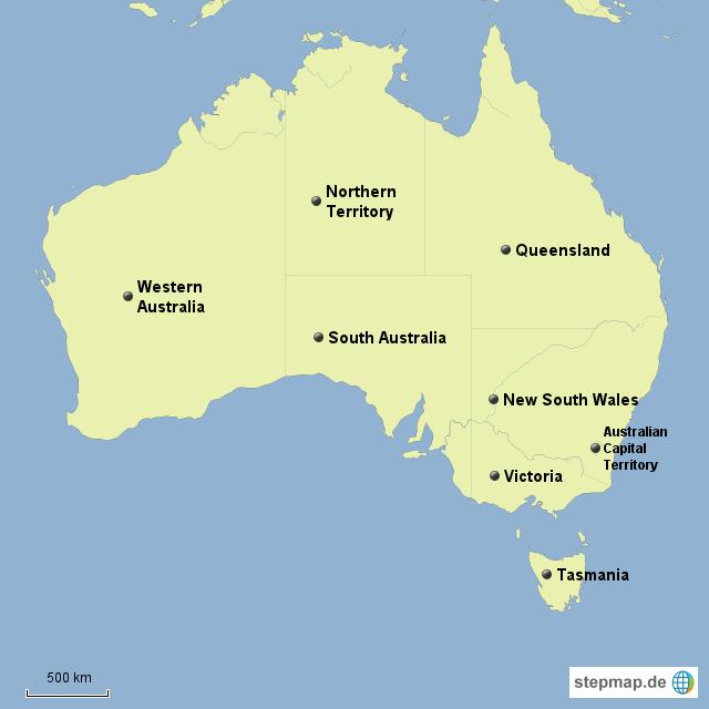 australien bundesstaaten karte goudenelftal. Black Bedroom Furniture Sets. Home Design Ideas