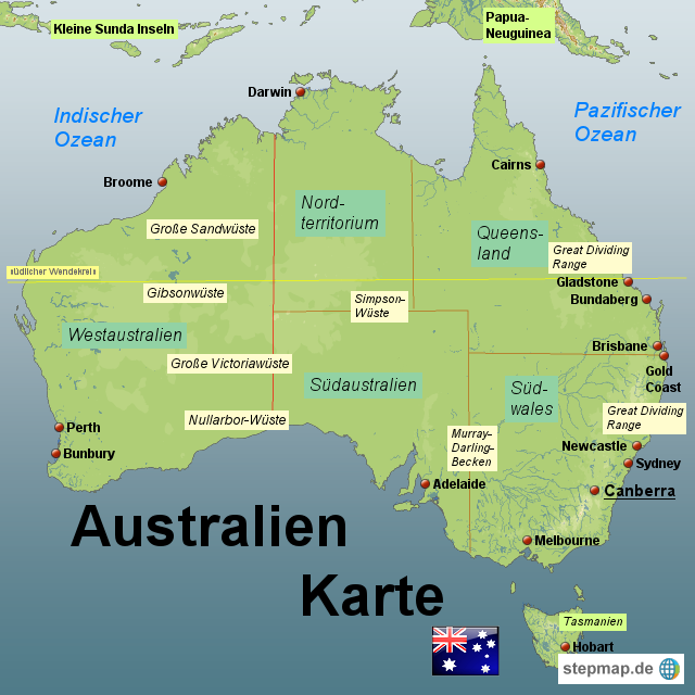 Australien Karte von Karten - Landkarte für Australien AUSTRALIEN KARTE