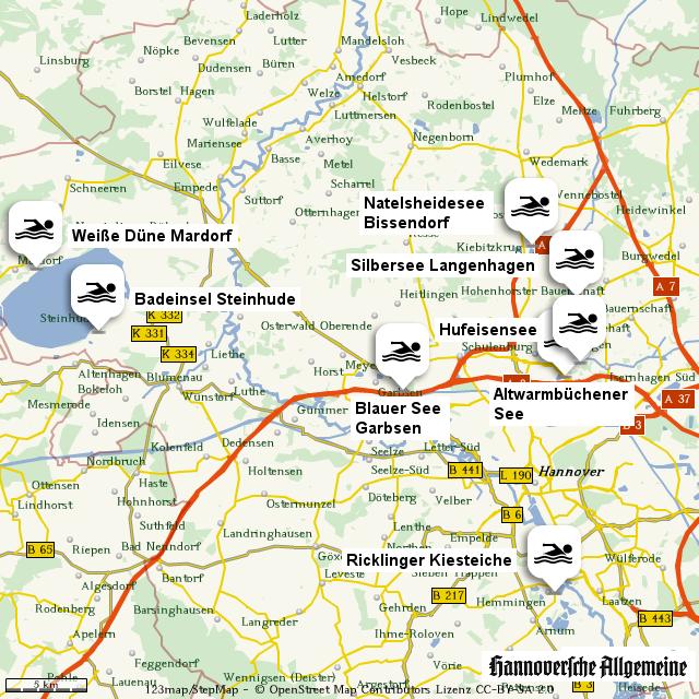 badeseen region hannover von madsack online landkarte f r deutschland. Black Bedroom Furniture Sets. Home Design Ideas