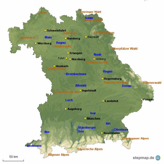 Bayern Karte Flüsse.Bayern Karte Mit Städten Und Flüssen Goudenelftal