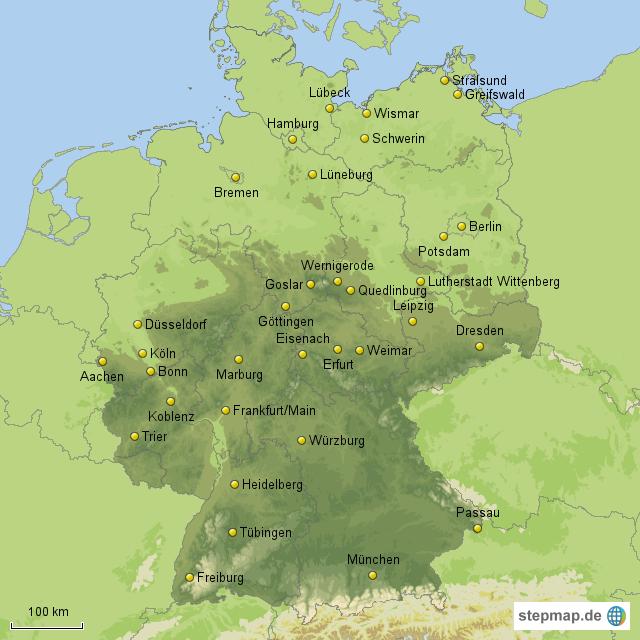 besonders sehenswerte st dte in deutschland von maxi76 landkarte f r deutschland alle bundesl nder. Black Bedroom Furniture Sets. Home Design Ideas