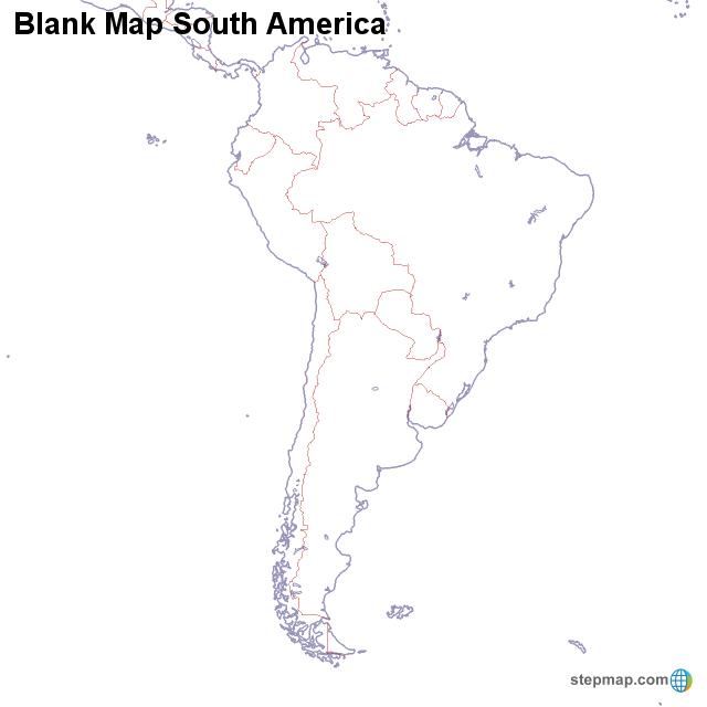 Blank Map South America von countrymap - Landkarte für Südamerika