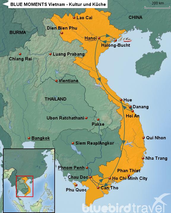 BLUE MOMENTS Vietnam   Kultur Und Küche Von BLUEBIRD TRAVEL   Landkarte Für  Vietnam