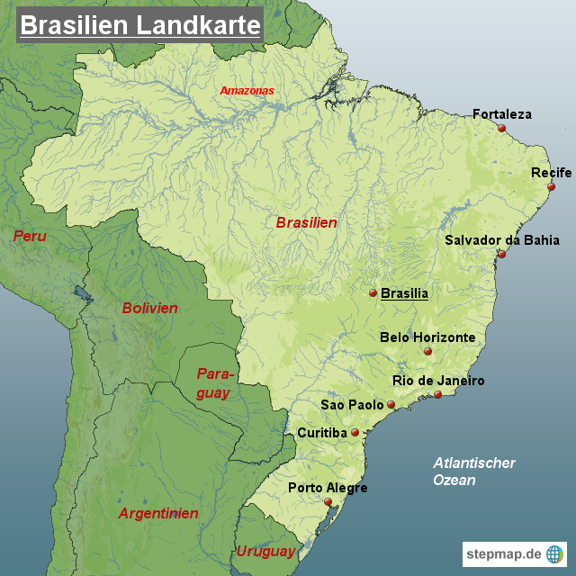 Brasilien Landkarte von Landkarten - Landkarte für Brasilien