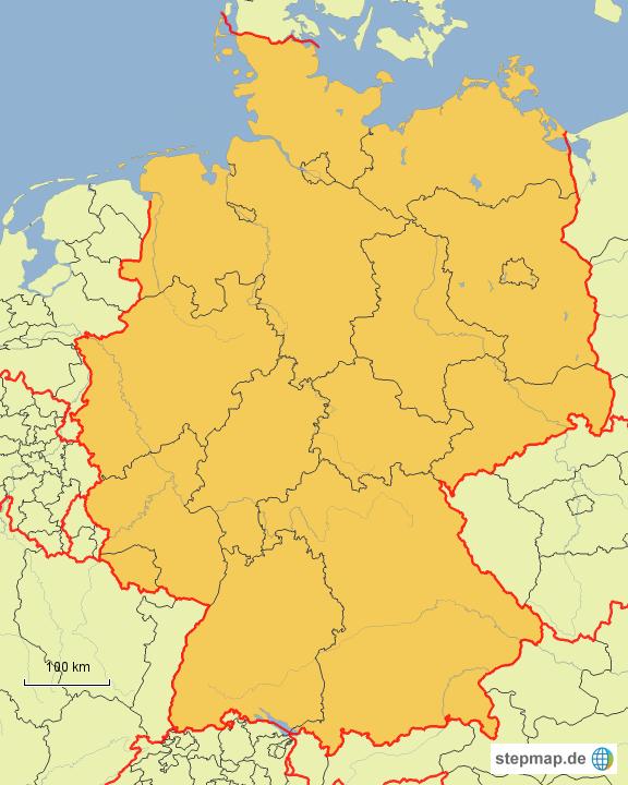 brd bundesl nder von robbelsche landkarte f r deutschland. Black Bedroom Furniture Sets. Home Design Ideas