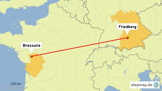 Bressuire - Friedberg von Wlv3rn - Landkarte für Deutschland