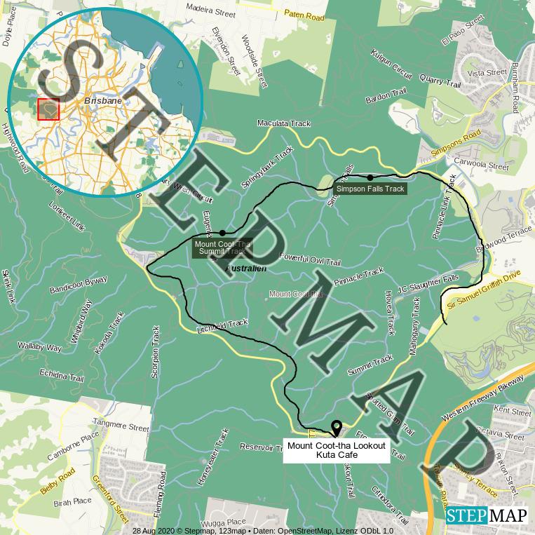 Landkarte: Brisbane Mount Coot-tha