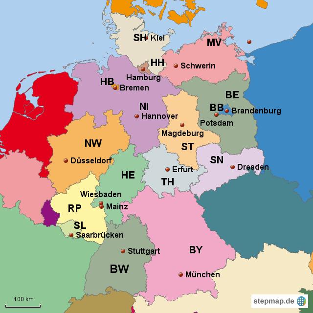 Bundesländer und die Hauptstädte von Wanja - Landkarte für