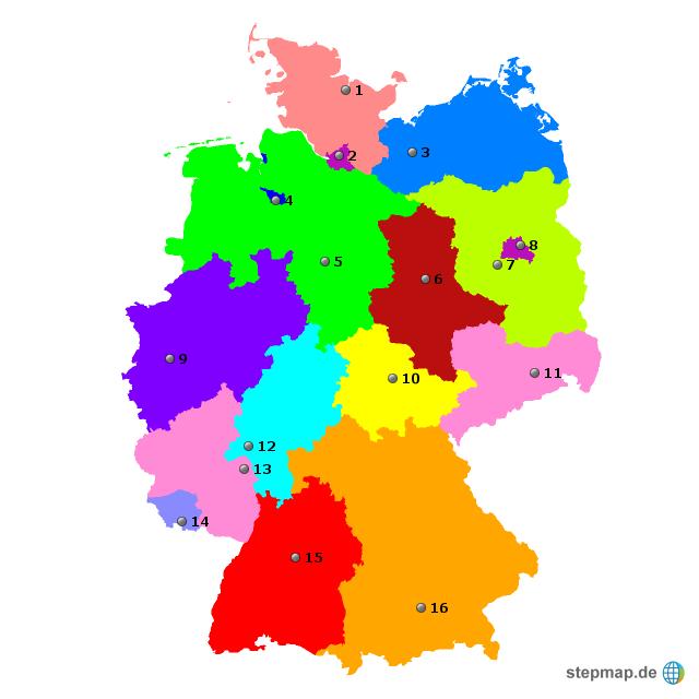 bundesl228nder und hauptst228dte von kent79 landkarte f252r
