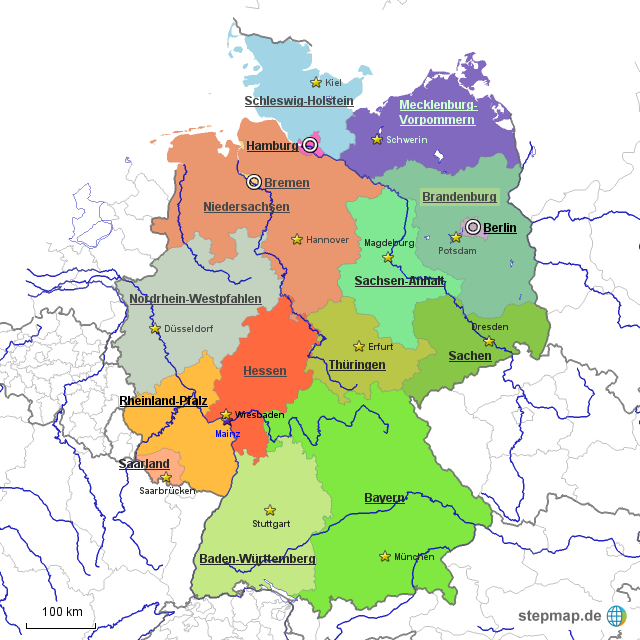 bundesl nder deutschland hauptst dte von diegmachs landkarte f r deutschland alle bundesl nder. Black Bedroom Furniture Sets. Home Design Ideas