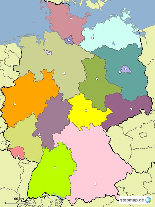 Karte Bundesländer.Stepmap Bundesländer Hauptstädte Unbeschriftet Landkarte Für
