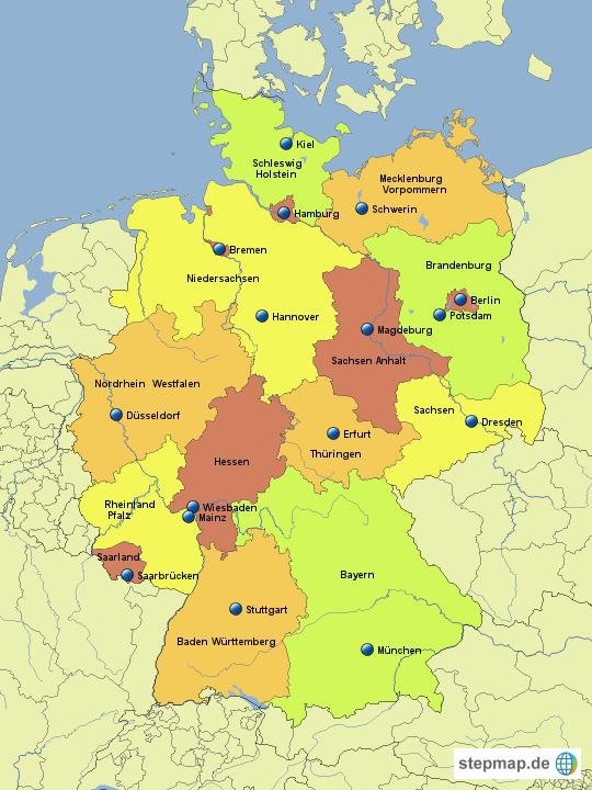 bundesl nder landeshauptst dte beschriftet von bababu landkarte f r deutschland. Black Bedroom Furniture Sets. Home Design Ideas