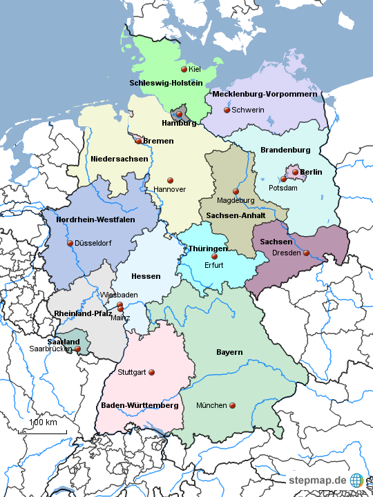bundesl228nder mit hauptst228dten von jerrybeck landkarte