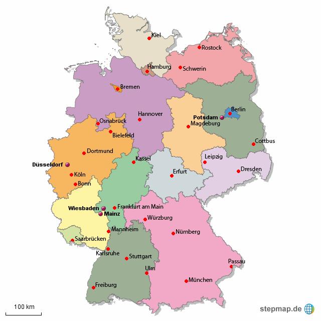 bundesl nder mit namen der hauptst dte u a von chrfr landkarte f r deutschland alle bundesl nder. Black Bedroom Furniture Sets. Home Design Ideas