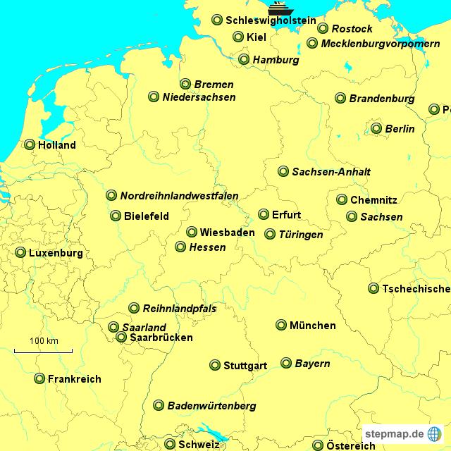 bundesl nder und die st dte von deutschland von anne23 landkarte f r deutschland. Black Bedroom Furniture Sets. Home Design Ideas