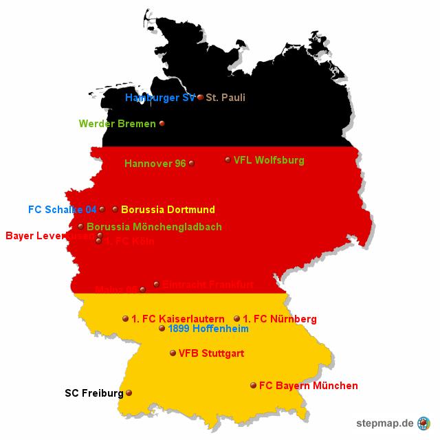Bundesliga 2010 11 von raxman landkarte f r deutschland for Bundesliga 2010