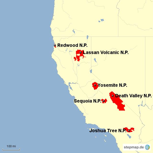 California National Parks Von Erdkundefreak - National parks california