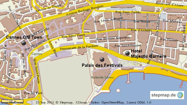 Cannes Map von Contour - Landkarte für Welt on