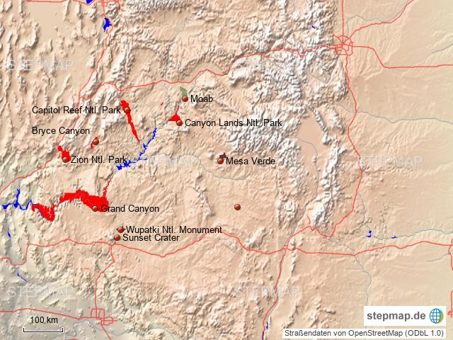 Canyonland Utah/Arizona von JoeBue - Landkarte für die USA