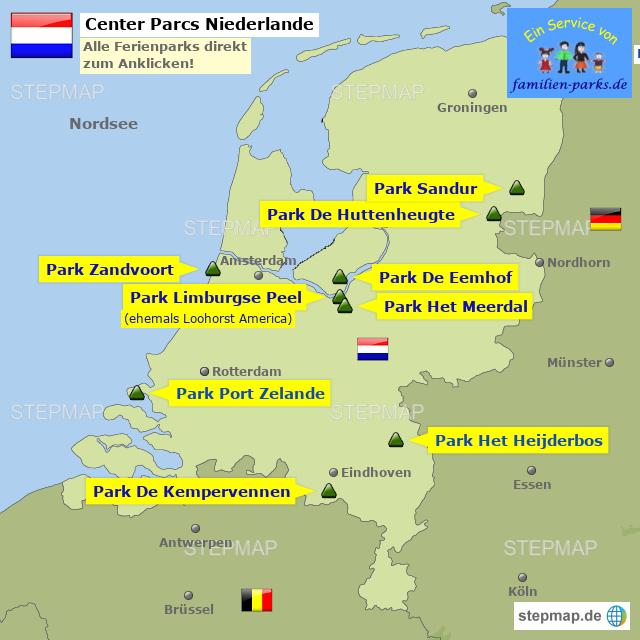 center parcs niederlande von familienparks landkarte f r die niederlande. Black Bedroom Furniture Sets. Home Design Ideas