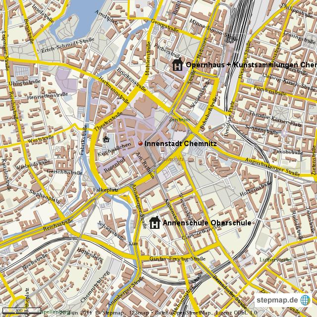 Karte Chemnitz.Stepmap Chemnitz Innenstadt Landkarte Fur Welt