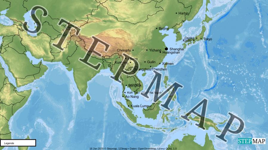 Landkarte: China 2019/2020