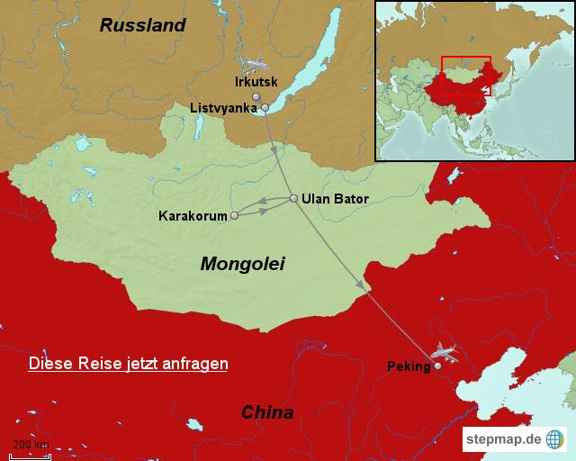 Chinesische Mauer Karte.China Karte Mit Der Eisenbahn Vom Baikalsee Zur Großen Mauer Von