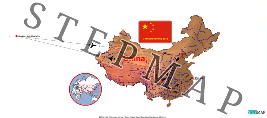 Landkarte: China-Rundreise 2018