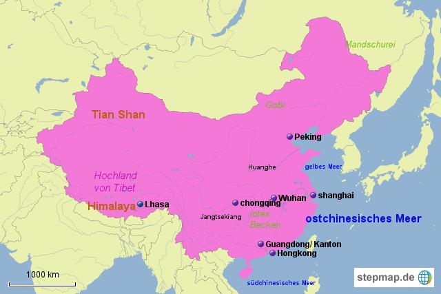 karte china gebirge StepMap   china städte, flüsse, landschaften, gebirge   Landkarte